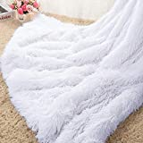 Homore Soft Fluffy Blanket Fuzzy Sherpa Plush Cozy Faux Fur Throw Blankets for Bed Couch Sofa Chair Decorative, 60''x80'' White