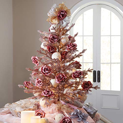 BrylaneHome Christmas 4' Rose Gold Christmas Tree, Rose Gold