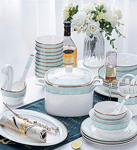 Derya Geschirrservice Aus Porzellan 56 Pcs Set Rund Kombiservice Für 12 Personen, Beinhaltet Becher, Schalen, Dessertteller Und Essteller