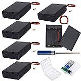 GTIWUNG 6Pcs AA 4.5V batería Titular Caso Caja de Almacenamiento de la batería de plástico con Interruptor ON/Off, Portapilas con Cables de Interruptor + 2Pcs Caja de batería para AA y AAA
