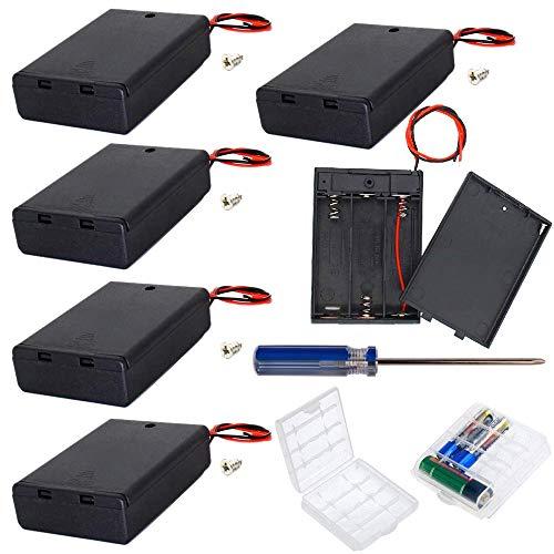 GTIWUNG 6 pezzi 3 AA 4.5V Custodia per Batterie Custodia per batterie in plastica con interruttore ON/OFF e alloggiamento in plastica dura, 2 pezzi plastica batteria Storage Case