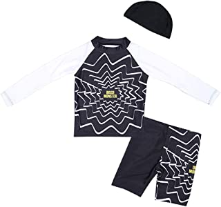 Little Girls Swimsuit Long Sleeve Swimwear Short Set with Hat Sun Protection Quick Dry 3-Piece