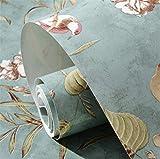 América del país retro flores y pájaros jardín wallpaper salón dormitorio TV pared fondo villa decoración papel de árbol de manzana (Size : Vintage Blue)