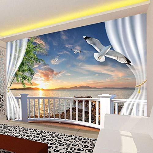 ZJfong 3D muurschildering behang zonsondergang buiten de raamdecoratie muur schilderij Chinese stijl woonkamer slaapkamer achtergrond 300x200cm