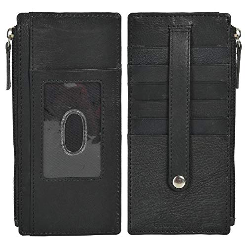 Leatherboss Genuine Leather All in One Card Case Holder Slim Wallet With Card Protection Strap, Black