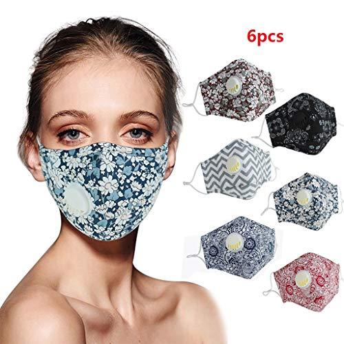 7Lucky Mundschutz Wiederverwendbar, Waschbar Sichtbarer mit Ventil Männer Frauen Baumwolle Kopftuch für Outdoor-Aktivitäten 6 Stück