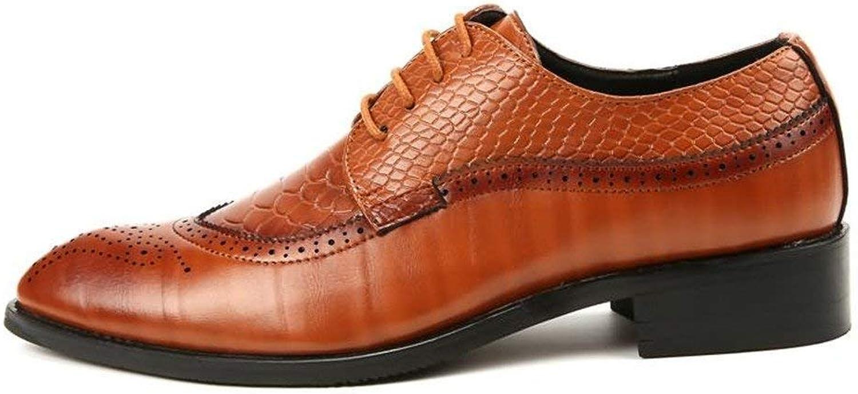 2018 Herren Oxfords Spitzschuh Flache Ferse Soft PU Leder Schnürschuh Business Casual Schuhe (Farbe   Rot, Gre   44 EU) (Farbe   Gelb, Gre   44 EU)