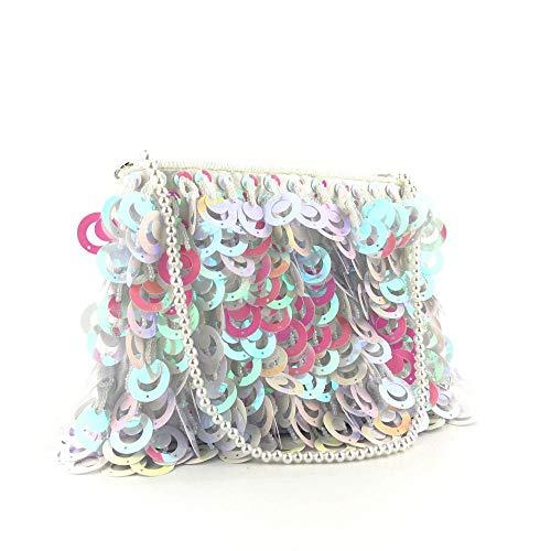 Furnace fire Perlenring Pailletten Tasche Perlenkette Einkaufstasche Damen Handgemacht Weiß