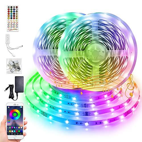 LED Streifen 20m, BFULL RGB 5050 LED Strips mit 40 Tasten-Fernbedienung und Bluetooth Steuerung per App, 600 LEDs farbwechselnde LED-Lichterkette für Schlafzimmer, Küche, Haus, Party, DIY Dekoration