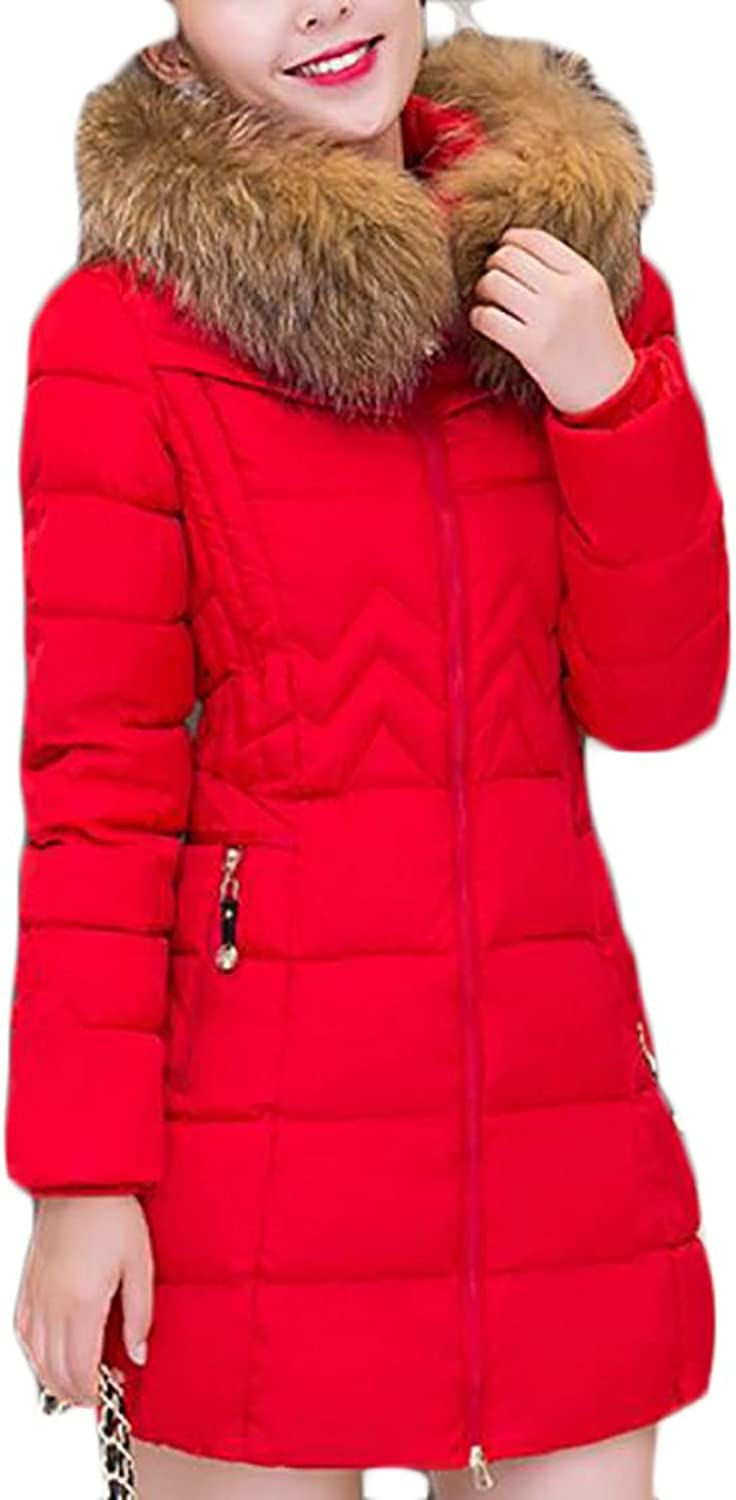 GAGA Women's Winter Zipper Slim Fit Plus Size Faux Fur Hooded Down Puffer Coat