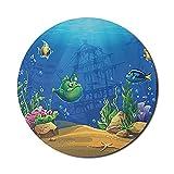 Alfombrilla de ratón para acuario para computadoras, ilustración de dibujos animados del fondo del mar que muestra peces y galeón hundido, alfombrilla de ratón redonda antideslizante de goma gruesa pa