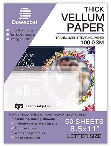 Translucent Vellum Paper, Dowsabel 68LBS 8.5 x 11 inches Printable Vellums for Card Overlays, Invitations Belly Bands, Envelope, Lantern, 50 Sheets