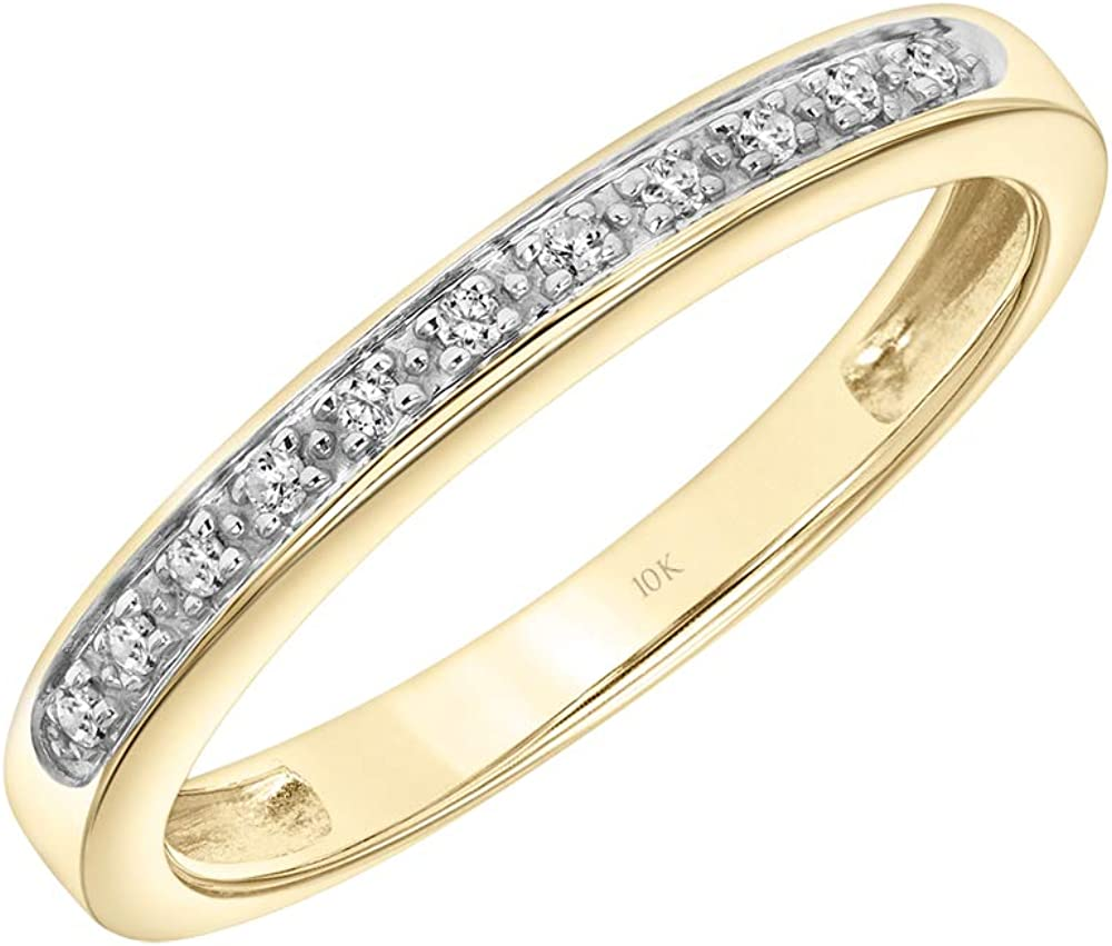 Brilliant Expressions 10K Yellow Gold 0.06 Cttw Conflict Free Diamond Shared Prong Wedding or Anniversary Band (I-J Color, I2-I3 Clarity)
