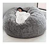 7ft Bean Bag Chair,(No Filler) Durable Comfortable Chair PV Fur Bean Bag Sofas Faux Fur Sofa Living Room Sofa Bed Large Bean Bag Chairs for Adults (Color : Light Grey)
