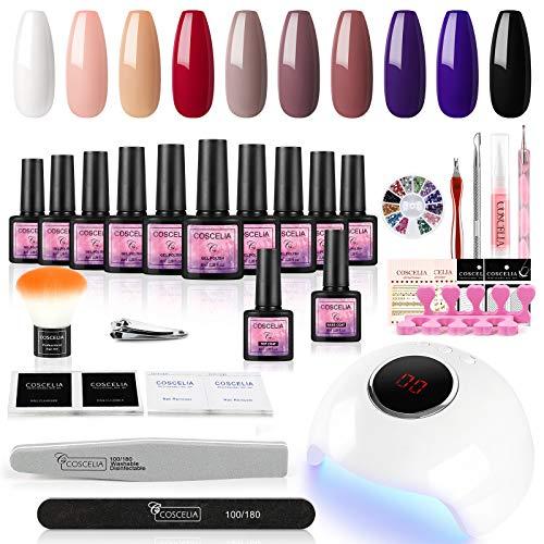 Coscelia Juego de esmaltes de uñas de gel UV, 24 W, lámpara UV + LED, set de iniciación de manicura, 10 unidades