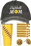 Softball Mom Gifts, Softball Tumbler, Softball Mom Trucker Hat, Softball Earrings, Softball Hair Pony Tails, Softball Cap for Women, Softball Cup 30 oz with Lid, Straw and Cleaner