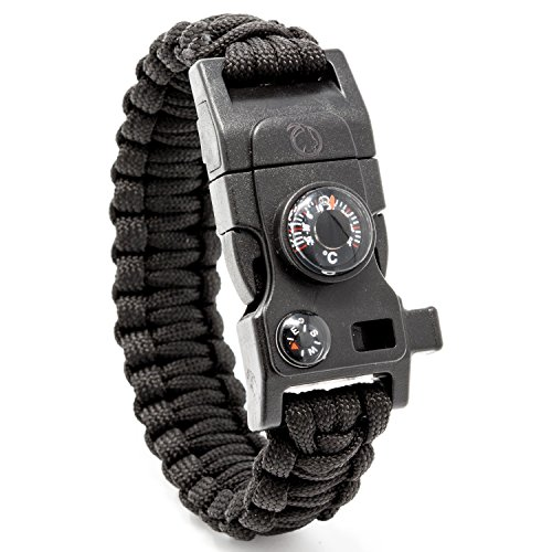Steinbock7® Survival Armband 16-in-1, Paracord, Pfeife, Feuerstein, Messer, Kompass, Thermometer, Multitool, Schwarz