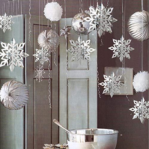 Zantec Decorazione Natalizia, Addobbi Albero di Natale, 6pz / Set 3D Neve da Appeso per Casa Party Giardino Bar KTV Centro Commerciale - Argento