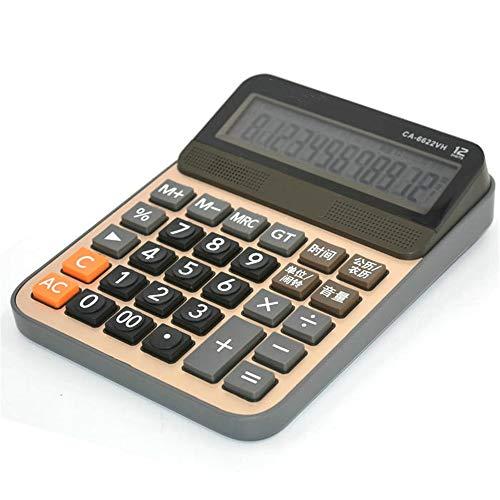 BU-SOH Taschenrechner Voice-Rechner Datum Uhrzeit Anzeige Alarm-Rechner mit großen Bildschirmen Batterien Desktop-Rechner Gelb Einfach zu verwenden (Color : Yellow, Size : One Size)