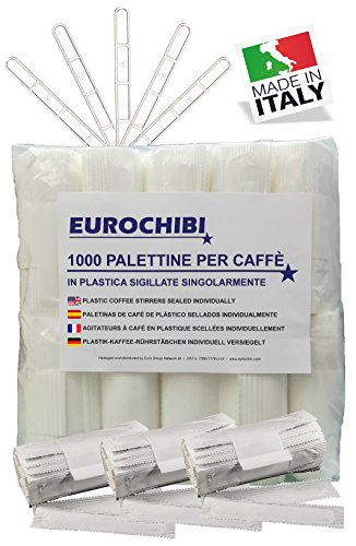 EUROCHIBI® 1000 Plastik-Kaffee-RÜHRSTÄBCHEN INDIVIDUELL VERSIEGELT