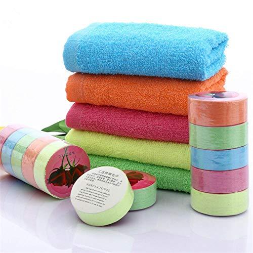 GEGAG 1PC Willekeurige kleuren Comprimeren Handdoeken Katoenen draagbare reishanddoek Kwaliteit Eco-vriendelijke handdoek