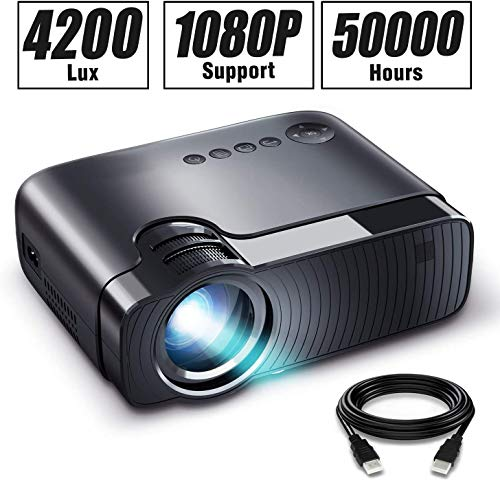 LED-videoprojector 4200 Lux Full HD 1080P 240-inch display Ondersteunde LCD Home Cinema-projector met smartphone, laptop, dvd-speler, PS4, HDMI, USB, VGA voor binnenshuis films voor gaming