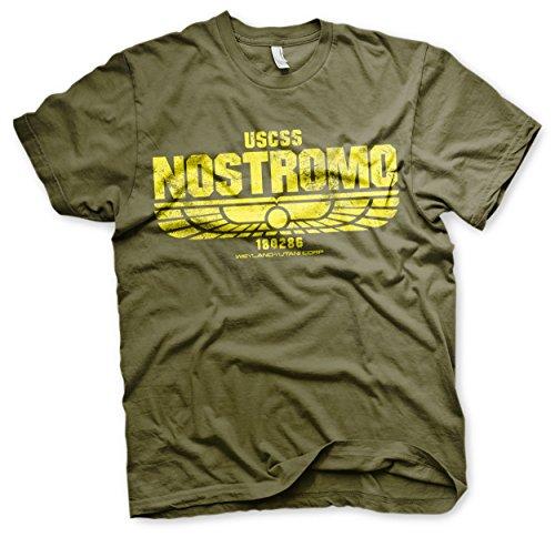 ALIENS Offizielles Lizenzprodukt USCSS Nostromo Herren T-Shirt (Olive), Large
