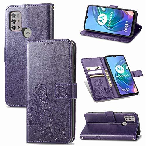 JIUNINE Hülle für Motorola Moto G30 / G20 / G10, Handyhülle Leder Flip Hülle mit Glücksklee Muster [Kartenfach] [Magnetverschluss] Schutzhülle Tasche Cover Lederhülle für Moto G30 / G20, Lila