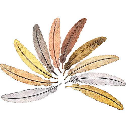 Tatuo 10 Pieces Feather Metal Bookmarks Feather Bookmarks Feather Shaped Bookmarks for Adults and Kids, Simple Elegant and Thin (10 Pieces)