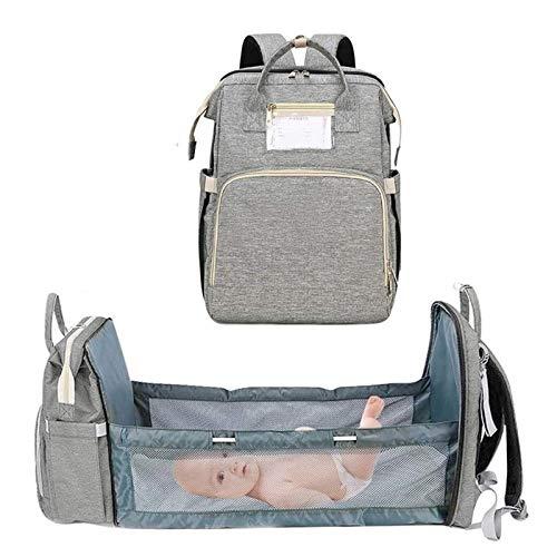 MFFACAI Mochila de Pañales para Bebé con Bolsa de Pañales para Cama de Bebé Mochila Grande para Bebé Mochila de Viaje Impermeable Bolsa de Bebé con Cuna para Madre y Bebé (Color : Gray)