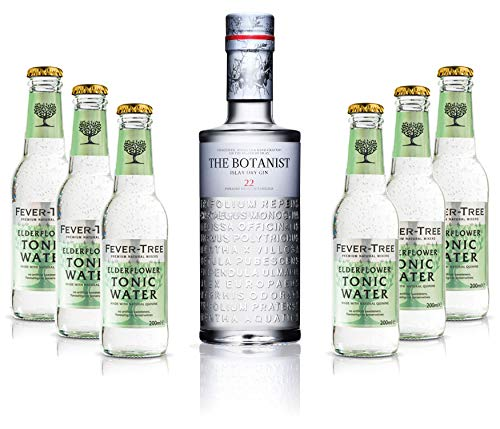 Gin Tonic Set - The Botanist Islay Dry Gin 0,7l 700ml (46% Vol) + 6x Fever Tree Elderflower Tonic Water 200ml inkl. Pfand MEHRWEG