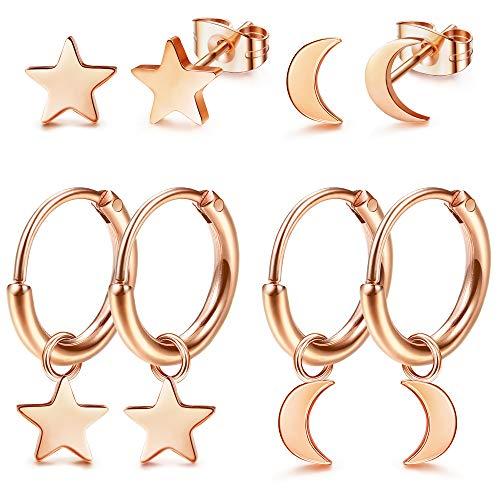 LOLIAS 4Pairs Orecchini a cerchio Set per Donna Ragazze Simpatici Orecchini piccoli Stella Luna Piercing Orecchini di cartilagine Stud Huggie