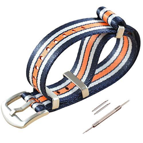 18mm Blau/Weiß/Orange Sicherheitsgurt NATO Uhrenarmband Nylon Watch Straps Ersatz für Herren Damen Gebürstete Schnalle