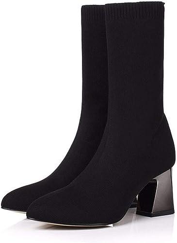 HBDLH Chaussures pour Femmes Jambe Maigre élastique des Bottes Chaussettes avec des Bottes A Souligné 7Cm Chefs Bottes D'épaisseur Moyenne des Talons Tube Bottes De Nus.