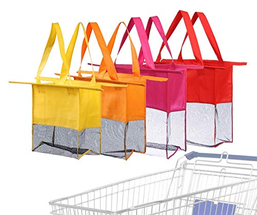 Reusable Shopping Cart Bags and Grocery Organizer Designed for Trolley Carts by Modern Day Living … (Green) (Red Purple Orange Yellow) (Shopping Cart Bags As Seen On Tv)