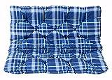 Cojines para el asiento Meerweh y cojines para el respaldo Banco Hanko, azul a cuadros, aproximadamente 100 x 98 x 8 cm, tablero de trabajo, revestimiento acolchado