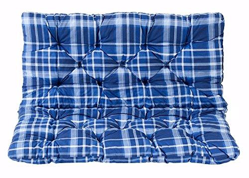 Meerweh Coussin a carreux haut dossier pour de Banc de Jardin HANKO, 2 Sièges, ca. 100 x 98 x 8 cm, ton bleu, 100x98x8 cm