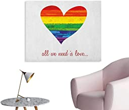 Anzhutwelve Pride Photo Wall Paper All We Need is Love Quote with Heart Symbol in The Gay Parade Colors Valentines Poster Print Multicolor W32 xL24