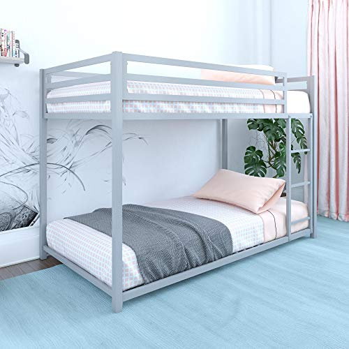 DHP Miles Metal Bunk Bed, Silver, Twin over Twin