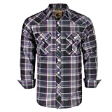 Coevals Club Men's Western Button Down Plaid Long Sleeve Casual Shirt with Pearl Snap (Purple & Gray#14, L)
