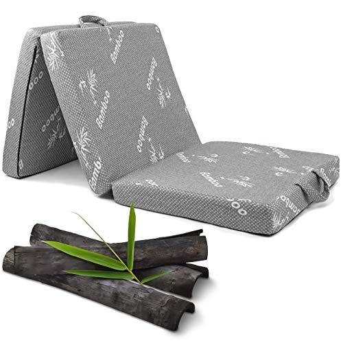Vitabo Klappmatratze Gästebett mit weichem Viskose-Bezug aus Bambus und atmungsaktiven Aktivkohlefasern I 3-teilige...