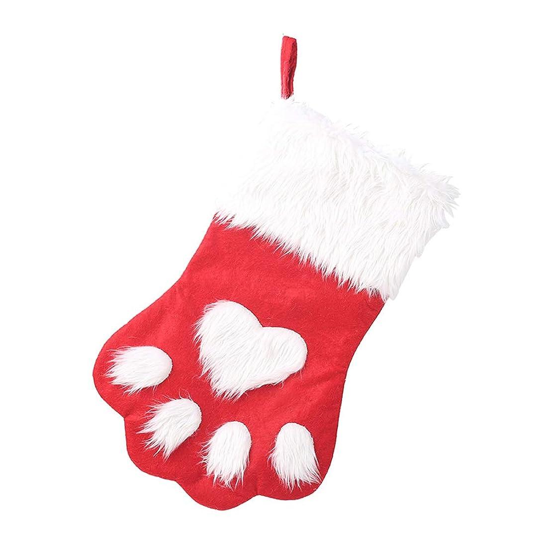 橋脚適用する一過性Happysource 1ピースクリスマスギフトバッグペット猫足ストッキングソックスクリスマスツリーの飾り