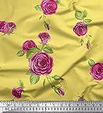 Soimoi Gelbe Seide Stoff Blätter & Rosa Rose Blumendekor