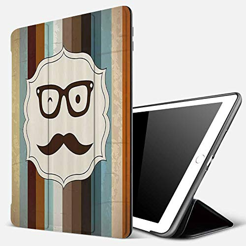 iPad 9.7 inch 2017/2018 Case/iPad Air/Air 2 Cover,Funny Man Face with Moustache and Glasses Winking on Striped Background Sir Artwork,PU Leather Shockproof Shell Stand Smart Cover with Auto Wake