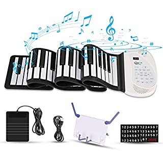 Hricane ロールピアノ 88鍵盤 電子ピアノ 折り畳み 128種類音色 100リズム 80デモン曲 USB充電式 スピーカー内蔵 移調機能搭載 MIDI対応 ヘッドフォン&マイク対応 キーボード 楽器 初心者 練習 ペダル&譜面台付き