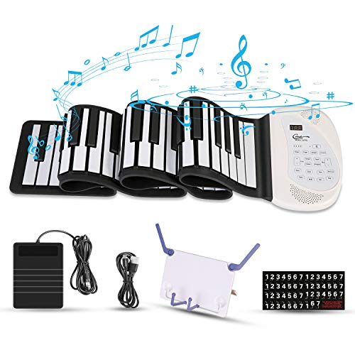 Hricane Roll Up Piano Keyboard, Portable 88 Keys Electronic Keyboard with Pedal and Bluetooth, USB Rechargeable MIDI Built-in Two Speakers, for Kids Adults Beginners