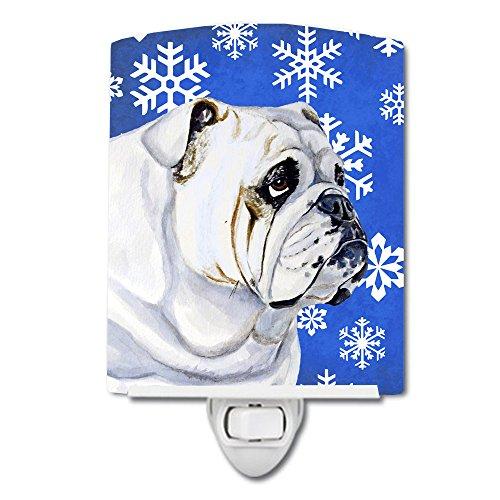 Caroline's Treasures LH9274CNL Bulldog Inglés Winter Snowflakes Holiday - Lámpara de noche de cerámica, 6 x 4 x 3, multicolor