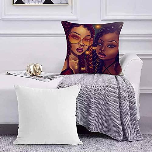 Funda de Cojín Funda de Almohada del Hogar Black Art Afro Black Madre e Hija Mujeres afroamericanas Sofá Throw Cojín Almohada Caso de la Cubierta para 45x45cm