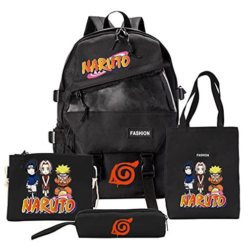 KIACIYA Anime Naruto Rucksack Damen Herren, AkatsukiBackpack Laptop Rucksack Naruto Kakashi School Bag Uchiha Sasuke Itachi Daypack Federmäppchen Mittelschüler Tagesrucksack Reiserucksack (3,4Ps)