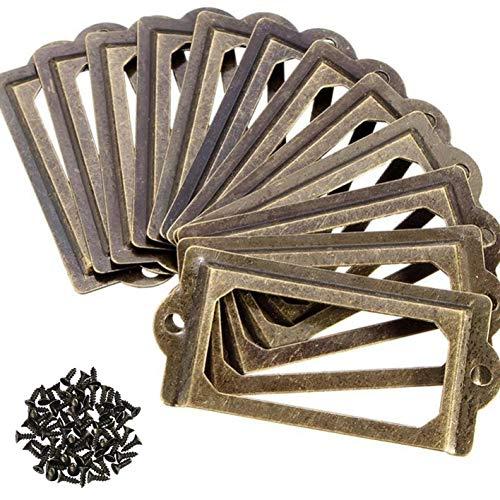 AMACOAM Möbelknöpfe Vintage Etikettenrahmen Metall Bronze Griffe Rahmen Label Halter Etikettenhalter Türknopf für Namensschilder Apothekerschrank Schublade Schrank oder Aktenschrank 70 * 33mm 30 Stück